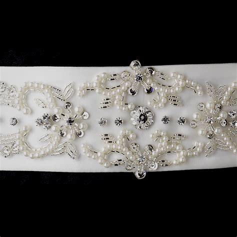 beaded sash belt ivory pearl rhinestone beaded sash belt bridal