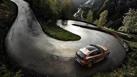 Car Landscape Wallpaper by Car Volvo Road Landscape River Mountain Trees