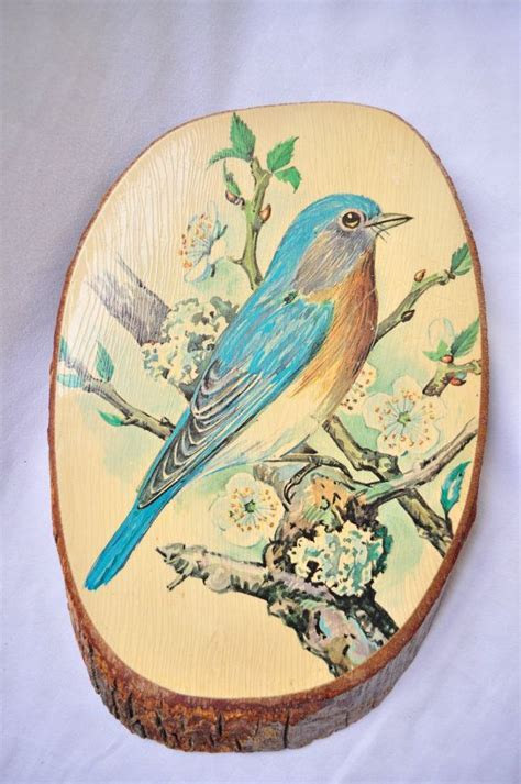 decoupage on wood vintage wood slice decoupage bird picture