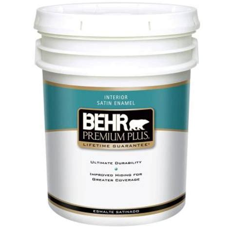 home depot 5 gallon interior paint behr premium plus 5 gal satin enamel interior paint 705005 the home depot