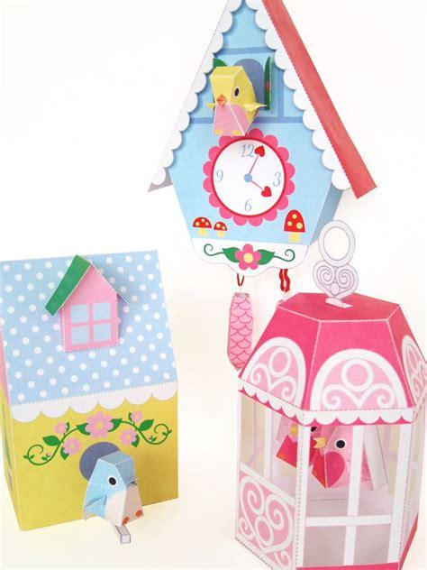 paper bird cage craft cuckoo clock bird house and bird cage printable paper