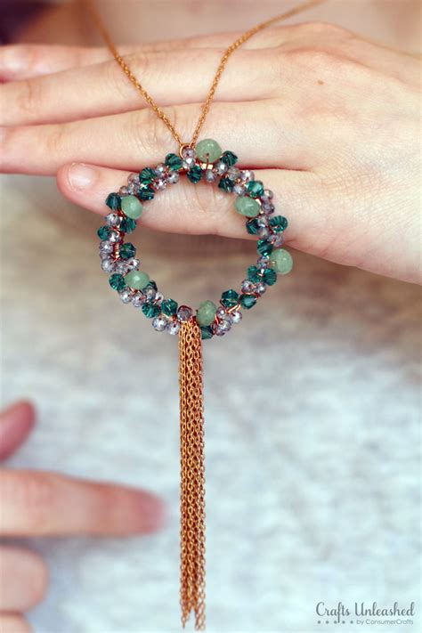 diy beaded necklace wreath necklace tutorial step by step crafts unleashed