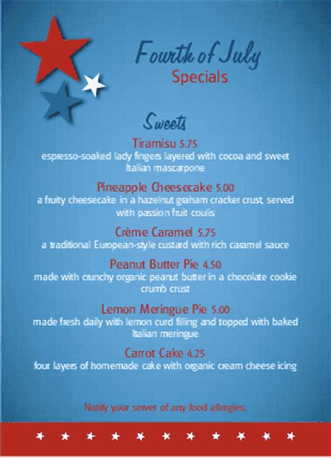 july 4th party table tent 4th of july menus