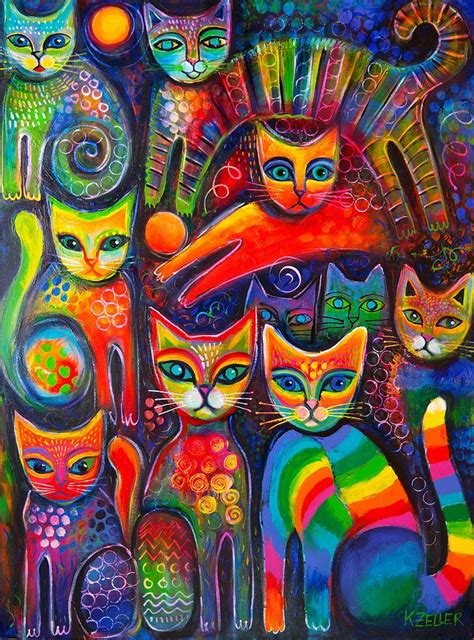 rainbow cat painting rainbow cats acrlylics painting by karin zeller