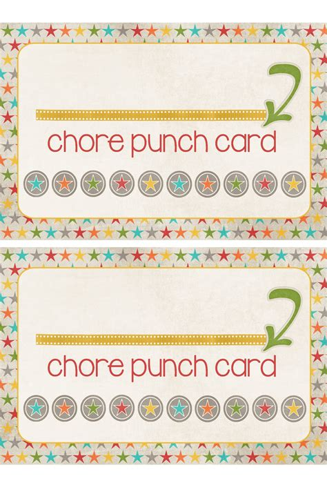 how to make a punch card a pocket of lds prints chore punch cards freebie