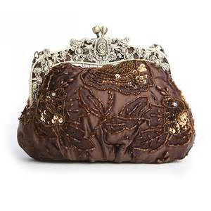 vintage beaded purse brown gold beaded sequin vintage bridal prom clutch