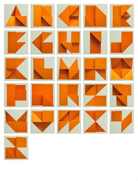 3d origami letters origami alphabet relief by tim fishlock strictlypaper