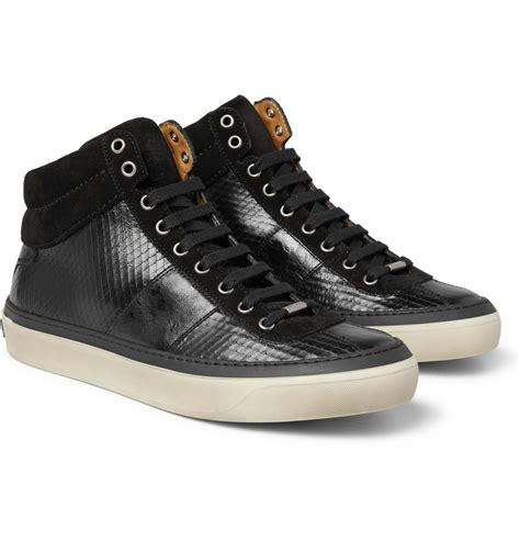 leather high top shoes for jimmy choo belgravia scored leather high top sneakers