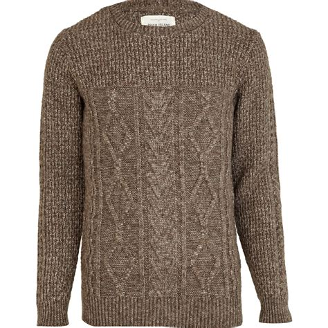 brown cable knit sweater river island light brown chunky cable knit sweater in
