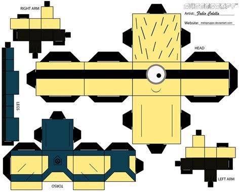 paper cube craft minion no 1 cubeecraft by melopruppo on deviantart