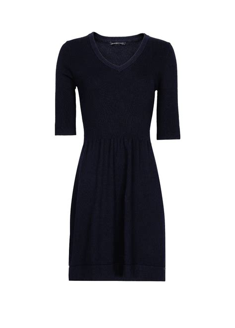 navy blue knitted dress mango knit dress in blue navy lyst