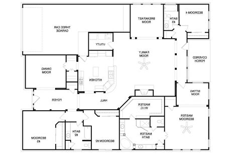 floor plans for homes one story 4 bedroom house plans one story 2018 house plans and home design ideas