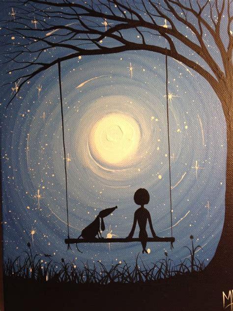 acrylic painting moon i wish i may 9 x 12 acrylic on canvas panel ready to