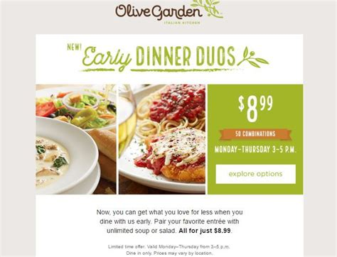 olive garden early dinner duos only 8 99 50 combinations couponista saving