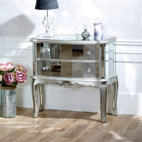 silver shabby chic bedroom furniture mirrored 2 drawer chest shabby chic bedroom