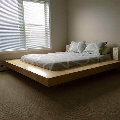 floating bed frame design woodwork king size floating platform bed assembly