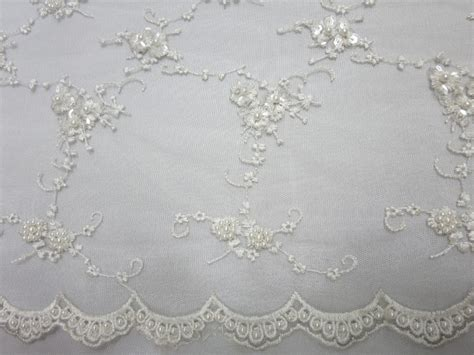white beaded lace fabric white embroidered beaded lace sequin mesh fabric fabric