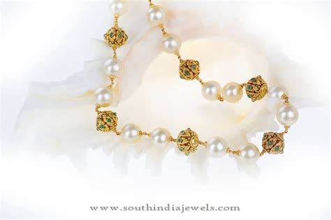 pearls with gold gold chain with souh sea pearls south india jewels