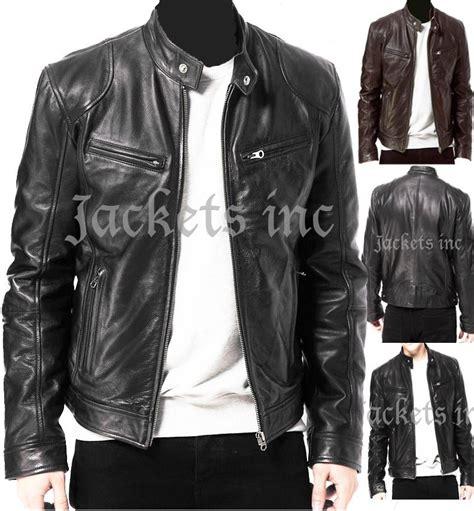 real leather jackets mens mens black brown real leather jacket vintage slim fit retro genuine new xs 3xl ebay