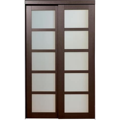 closet door shop reliabilt 5 lite frosted glass sliding closet