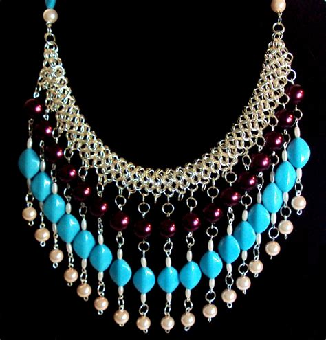 beaded tribal necklace chainmaille with necklace inspired by