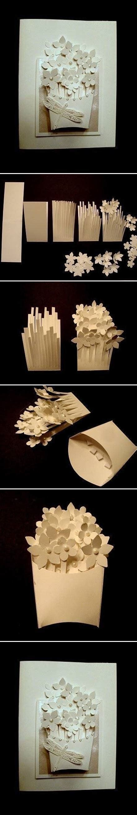 how to make a flower card how to make a basket of flower card step by step diy