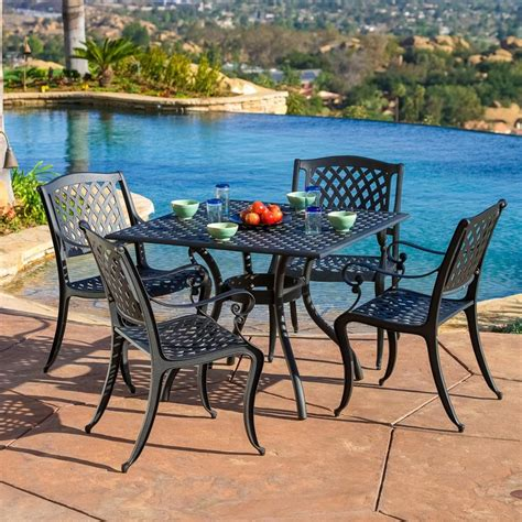 metal patio dining sets shop best selling home decor hallandale 5 black sand