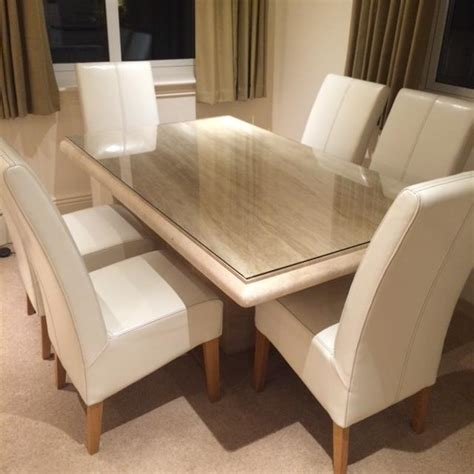 dining table and chairs for 6 actona travertine dining table and 6 leather
