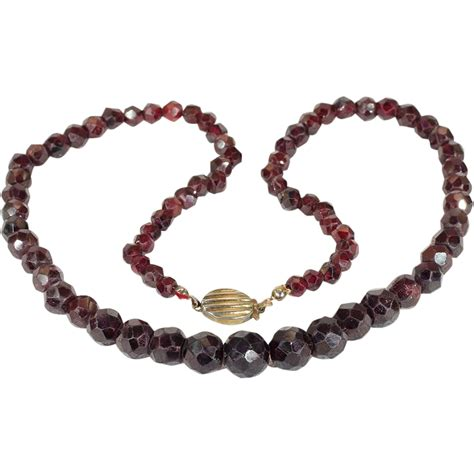 garnet bead necklace antique faceted garnet bead necklace with silver
