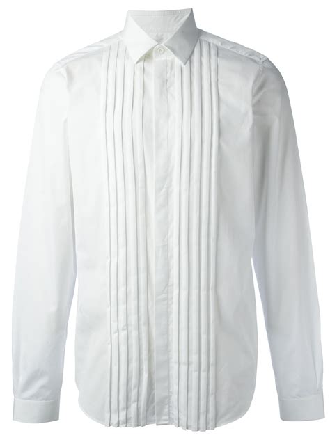 shirts with valentino pleated shirt in white for lyst