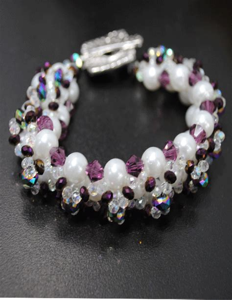 lh bead gallery right angle weave pearl braceletthe lh bead gallery