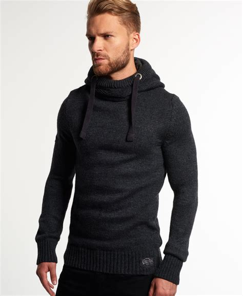 knitted hoodies new mens superdry sd knit hoodie anthracite ebay