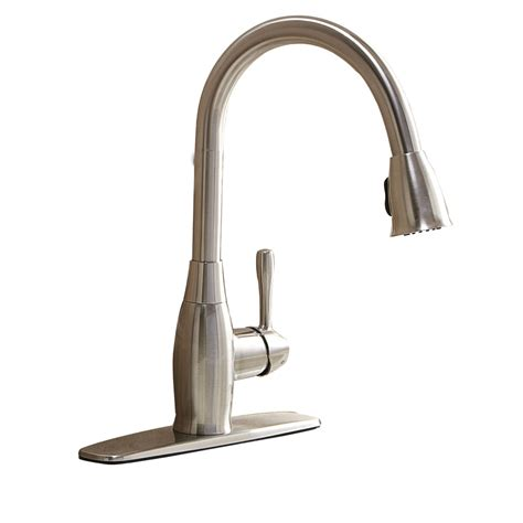 kitchen faucets at lowes shop aquasource brushed nickel 1 handle pull kitchen