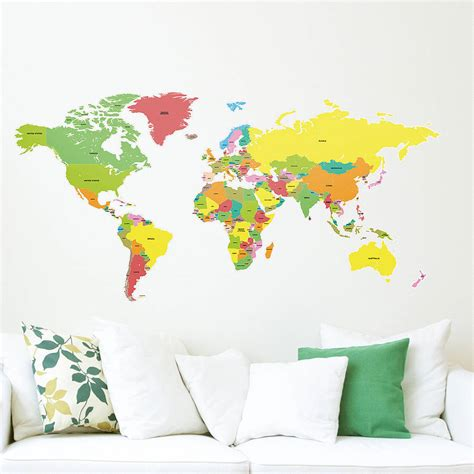 large world map wall sticker countries of the world map wall sticker by the binary box