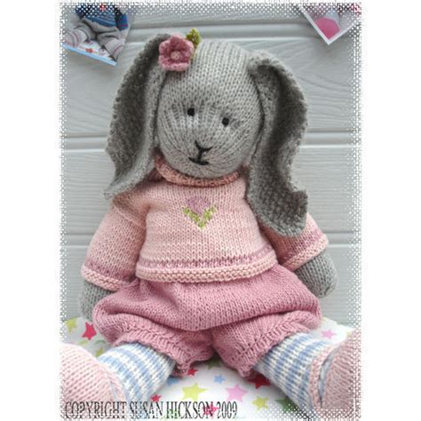 free knitting patterns of toys primrose rabbit bunny knitted pdf email p folksy