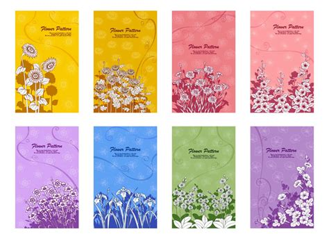 Flower Cards Designs Vector Vector Graphics