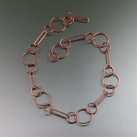 chain jewelry hammered copper chain necklace
