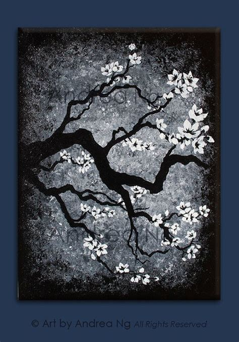 acrylic painting ideas black and white distant memories black and white cherry blossom