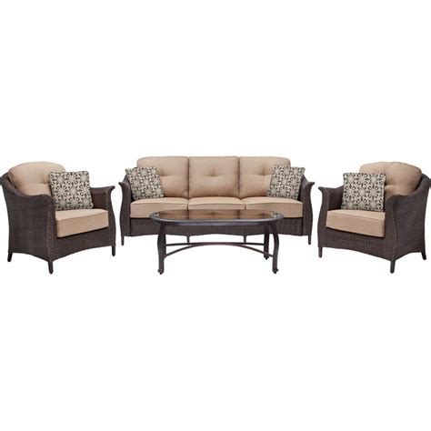 seating patio furniture sets hanover gramercy 4 all weather wicker patio seating