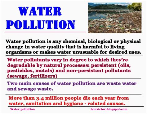 which property causes water to form bonvictor water pollution