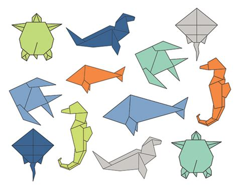 sea origami 60 clip sale origami sea clipart digital design