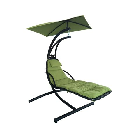 hammock chairs with stands shop garden treasures green polyester single hammock chair with stand at lowes