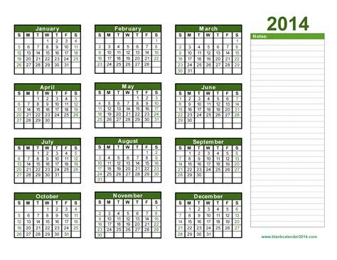 yearly calendar 2014 printable calendar 2014 blank