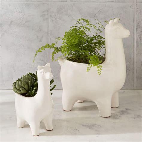 modern ceramic planter ceramic llama planters west elm uk