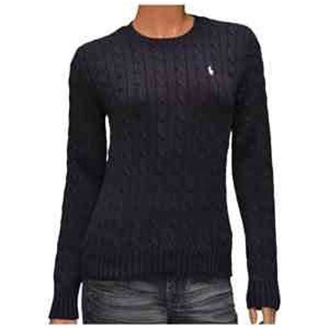 womens ralph cable knit jumper navy cable knit crew neck jumper by polo ralph
