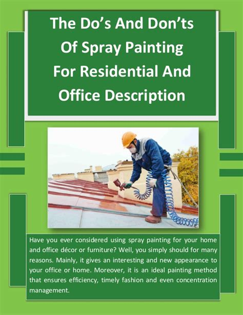 spray painter position description the do s and don ts of spray painting for residential and