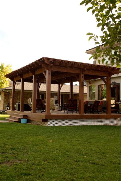pergolas for decks backyard deck pergola lattice fullwrap cantilever roof