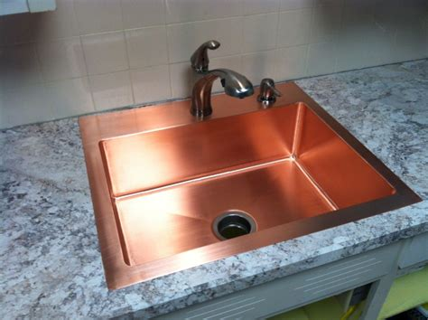 Farmhouse Style Kitchen Sinks by Hand Made Drop In Copper Kitchen Sink By Kutz Fine