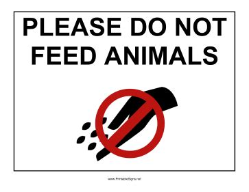 printable do not feed animals sign