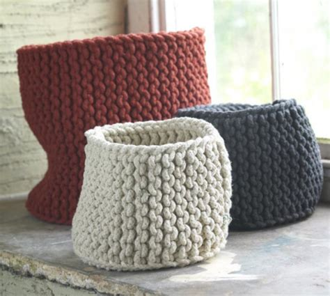 how to knit basket swissmiss knitted rope baskets